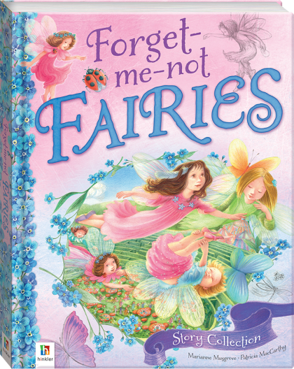 Cover art - Forget-me-not Fairies by Marianne Musgrove & Patricia McCarthy - two young sisters fly through the air accompanied by fairies. A picnic is taking place far below.